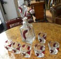 Very rare original Art Deco Czech Whisky Decanter set 1930′s in ruby red