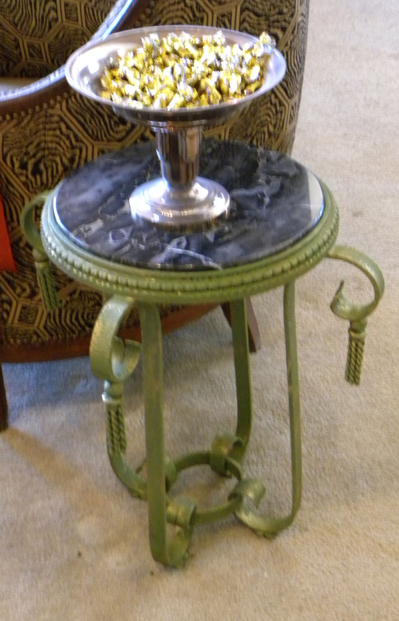 Green gold patina iron table art deco table small tables for Petite table deco