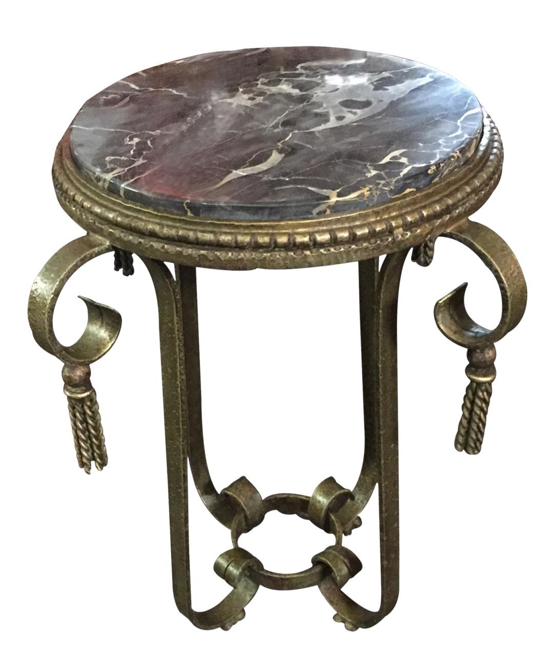 GreenGold Patina Iron Table Art Deco Table