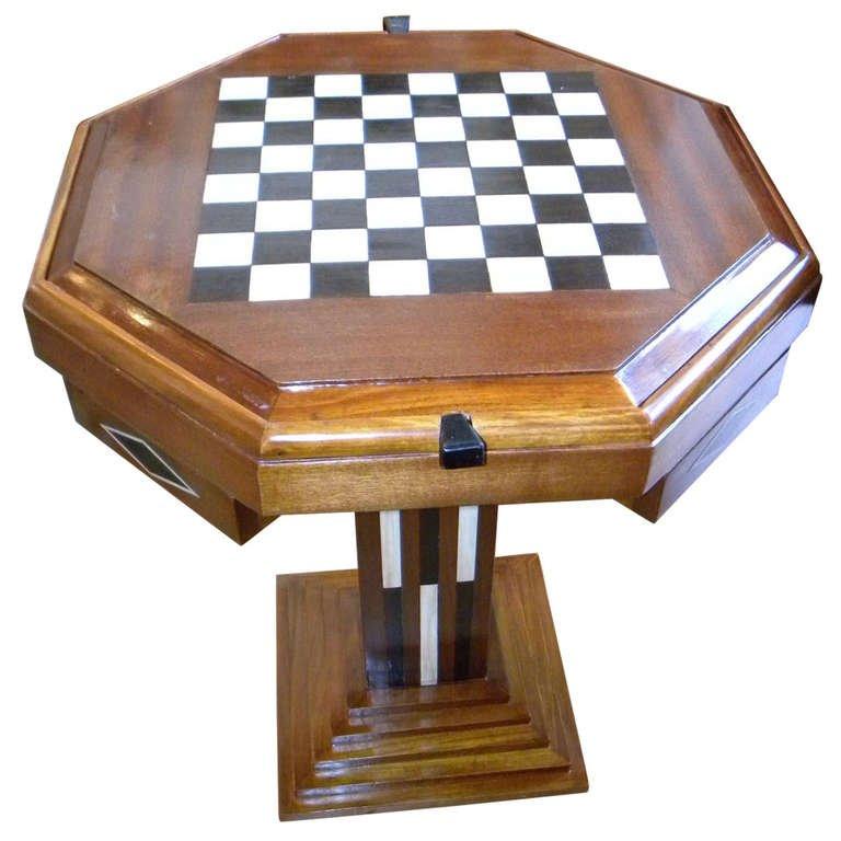 Art Deco Table Chess Checkers Backgammon