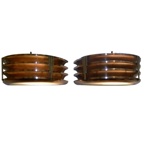 Copper Brass modernist stepped and fluted art deco sconces circa 1930′s