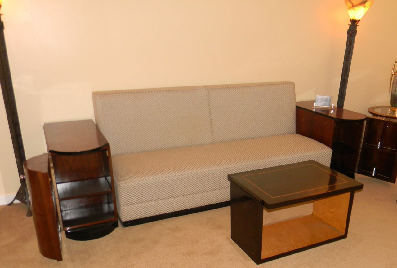 Art Deco Sofa Day Bed With Storage Cabinets Seating