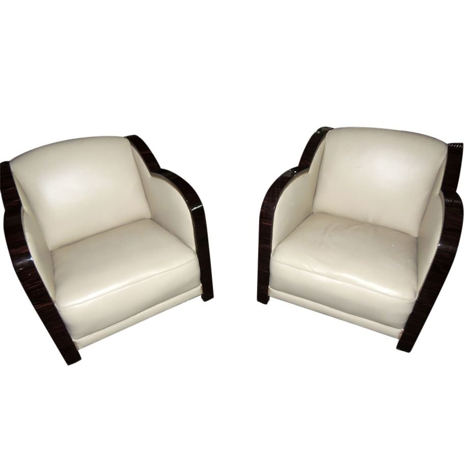 Art deco style furniture - Art Deco French Style Leather Club Chairs