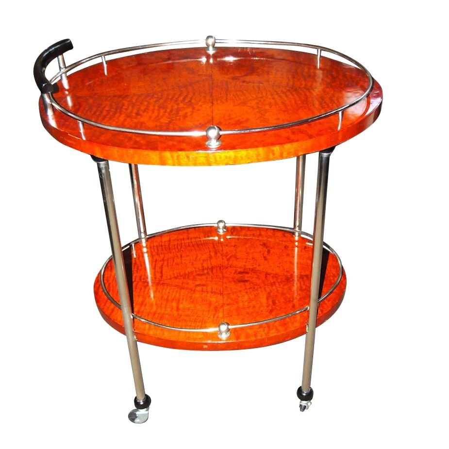 Art Deco Bar Cart With Wood And Chrome