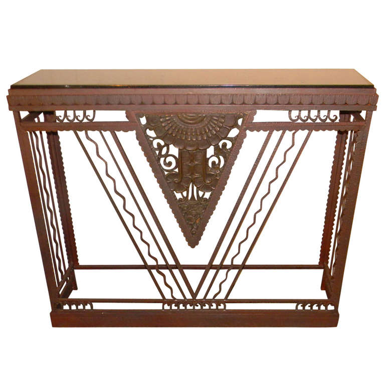 french style art deco metal console marble top ironwork art deco collection. Black Bedroom Furniture Sets. Home Design Ideas