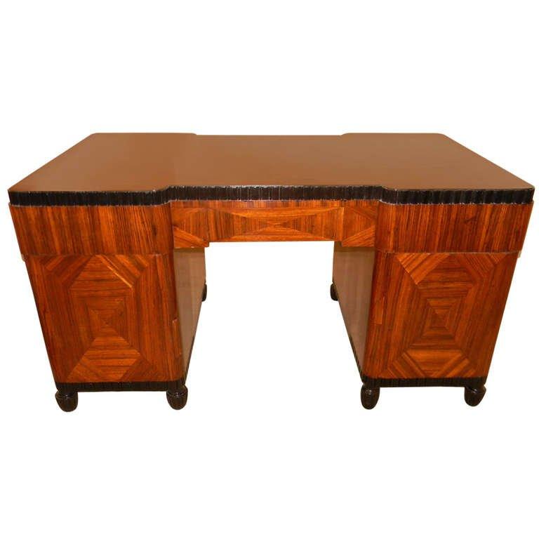 Art Deco Desk Zebra Wood Inlay