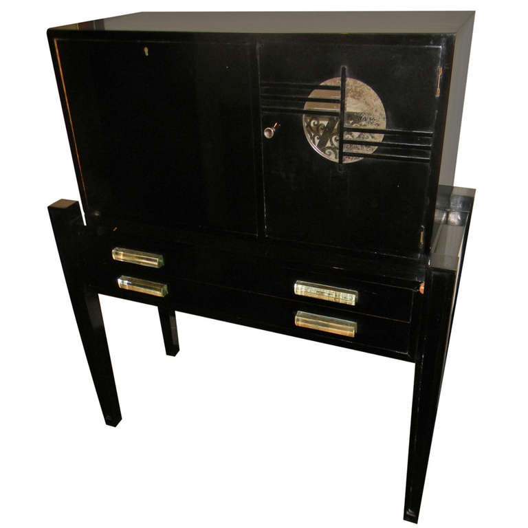 1940′s Art Deco Bar or Secretary Black lacquer lucite handles