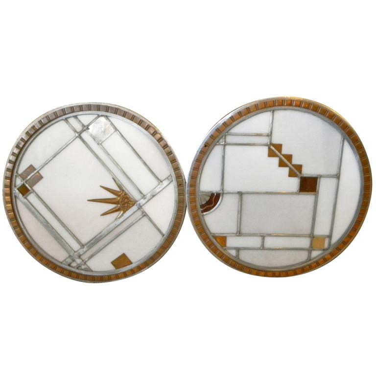 Unusual pair of art deco leaded glass porthole panels