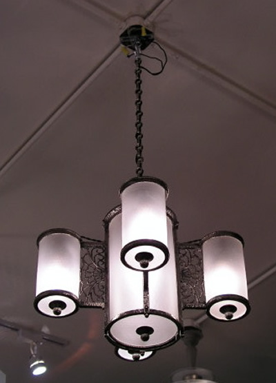 English chandelier and matching sconce combination