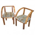 Pair of French modernist chairs with leopard fabric