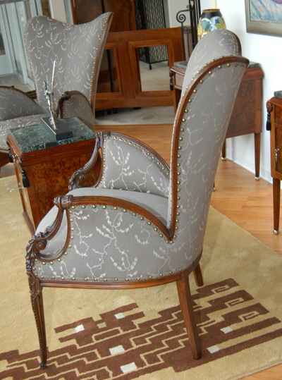 Two gray chairs