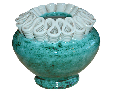 Green and White Vase from Atelier Sainte Radegonde