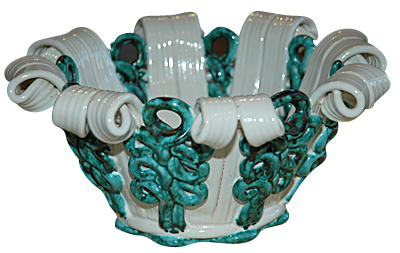 Green and White Vase from Atelier Sainte Radegonde