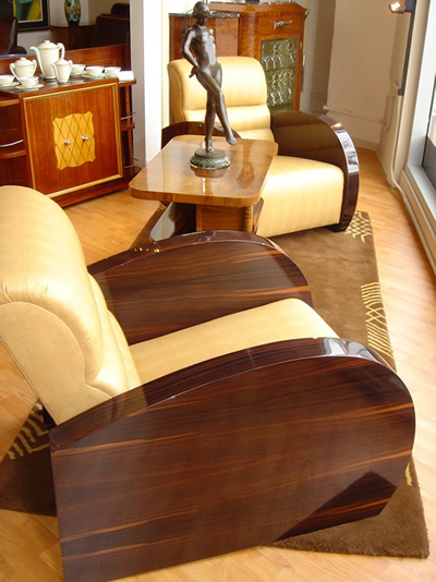 Wonderful macassar streamline French chairs