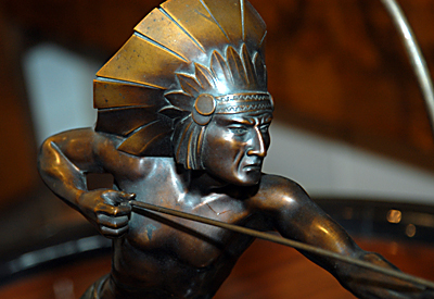 Bronze Statue Of An Indian Shooting A Bow And Arrow Sold