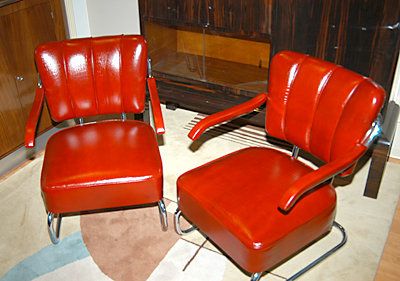 1935 Czech Hermes croc-leather lounge chairs