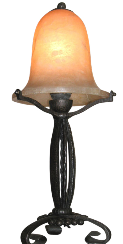 French Iron Table Lamp with Alabaster Shade