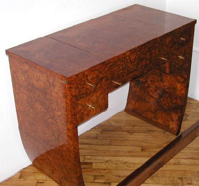 French Amboyna Art Deco Vanity Desk 1930u0027s