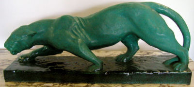French Art Deco Ceramic Jaguar Sculpture
