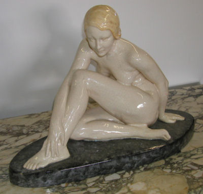 Signed G. Levy French Ceramic Nude sculpture
