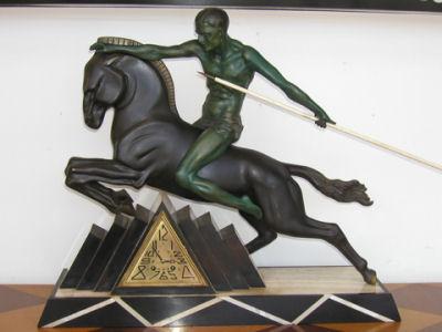 Art Deco Horseman Clock on stepped marble base