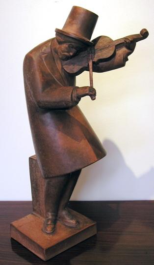 Cubist Terracotta Violin Gypsy French Art Deco