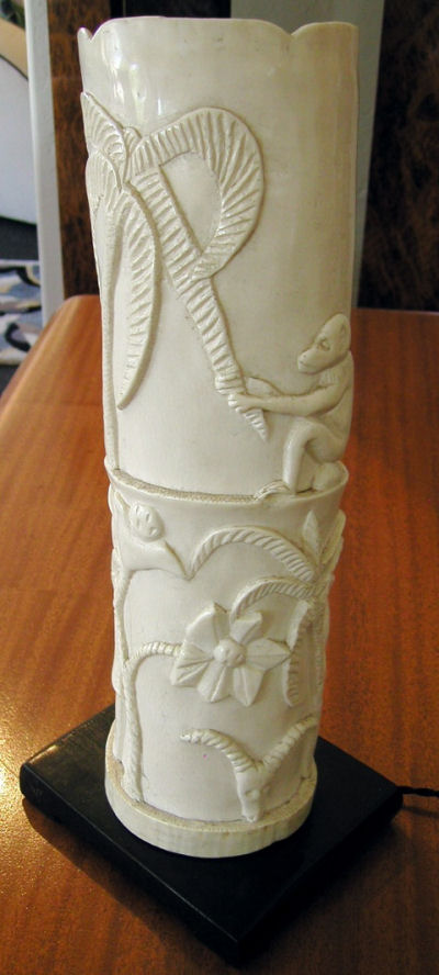 Carved Ivory African Theme Table Lamp Sold Items Table