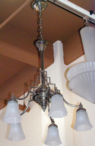 elegant French modernist chandelier