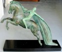 1930's deco sculpture of a woman on a horse