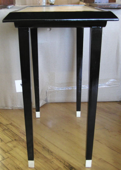French Black Lacquer Side Table Consoles Art Deco