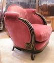 French Mahogany Rose Velvet Chair