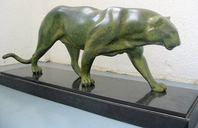Large Art Deco Panther  Statue by Rulas.