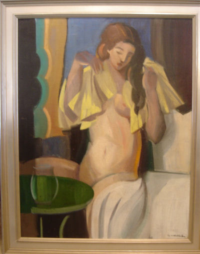 French Oil Painting of Nude Woman by Lacaze