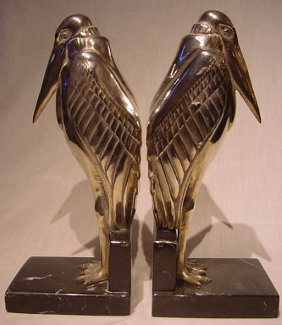 French Bronze Crow Bookends
