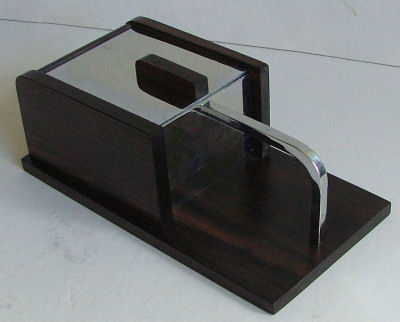 Modernist Chrome and Wood Box