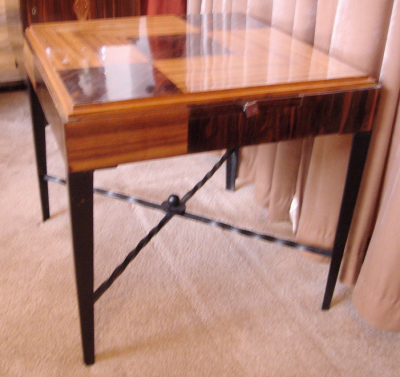 Square Game Table With Iron Base