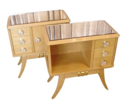 Maple Art Deco Night Stands / End Tables  Pair