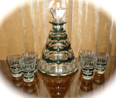1930s Belgian Decanter Set • Val St. Lambert