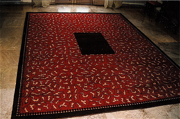 Art Deco Collection Custom Carpet Red Floral With Center