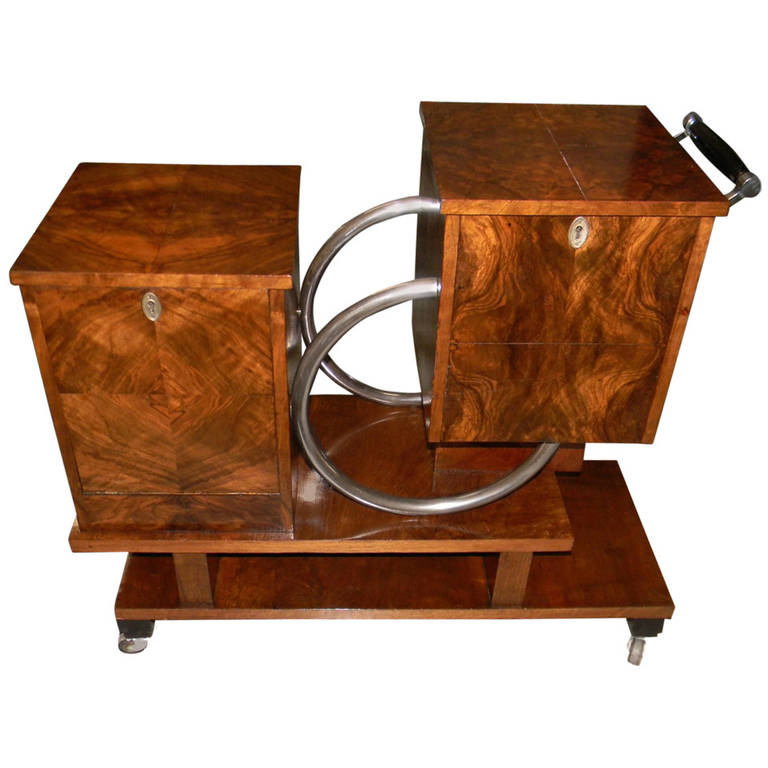 Unique Art Deco Rolling Bar or Liquor Cart