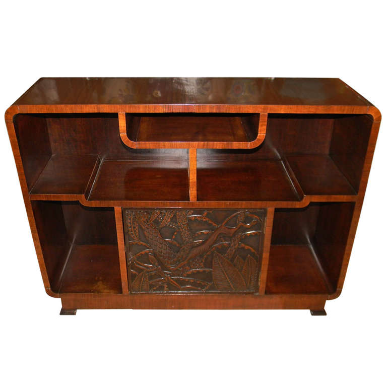 African Carved Exotic Art Deco Bar Storage