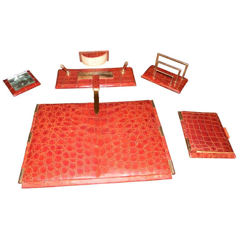 Complete Art Deco Crocodile Executive Desk set | Hermes | Gucci