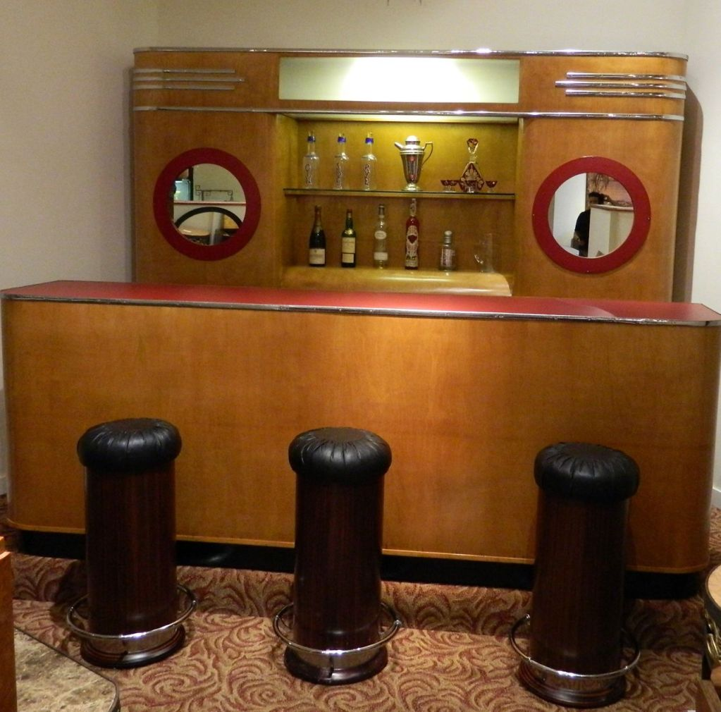 art deco custom bar original with matching backbar bars art deco collection. Black Bedroom Furniture Sets. Home Design Ideas