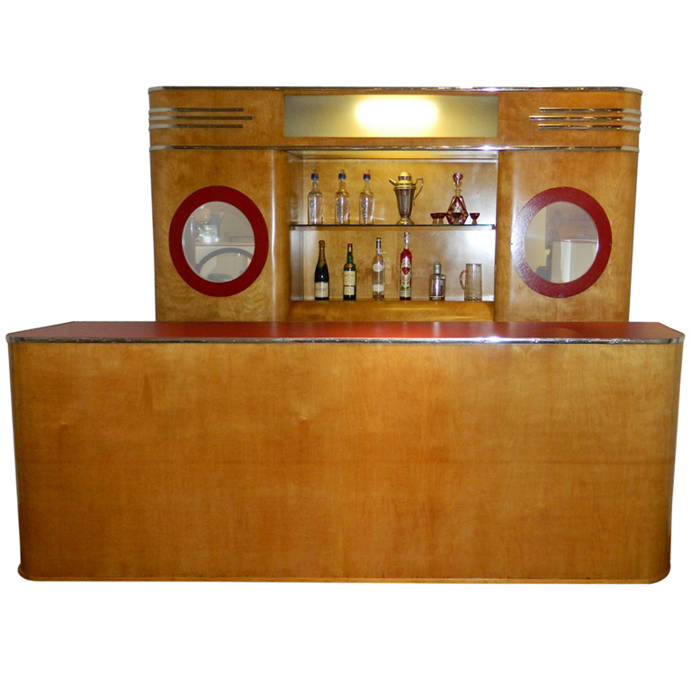 Stunning Art Deco Custom Bar Original with Backbar