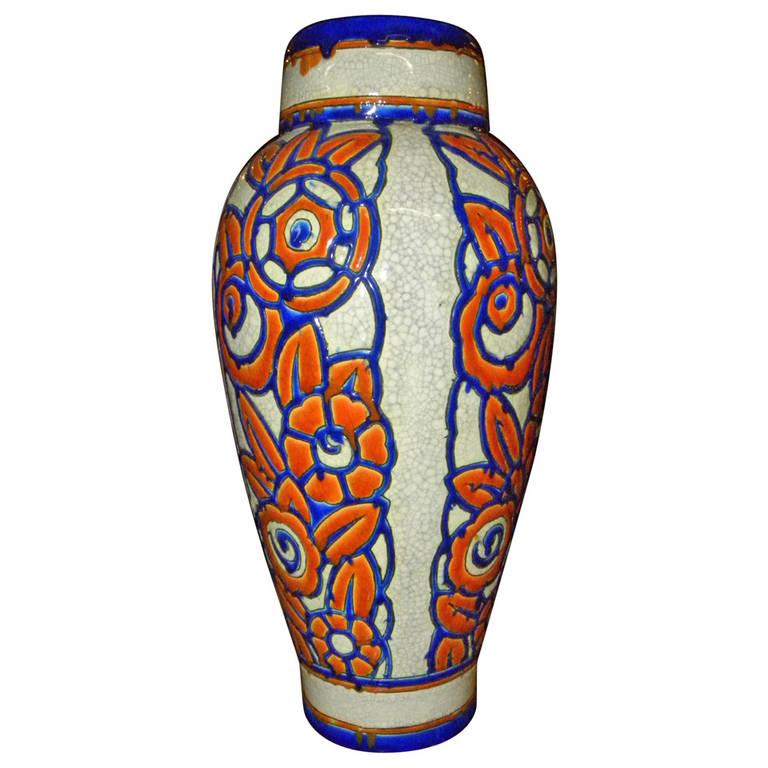 Catteau Era Ceramic Art Deco Vase With Flower Motif Boch Freres