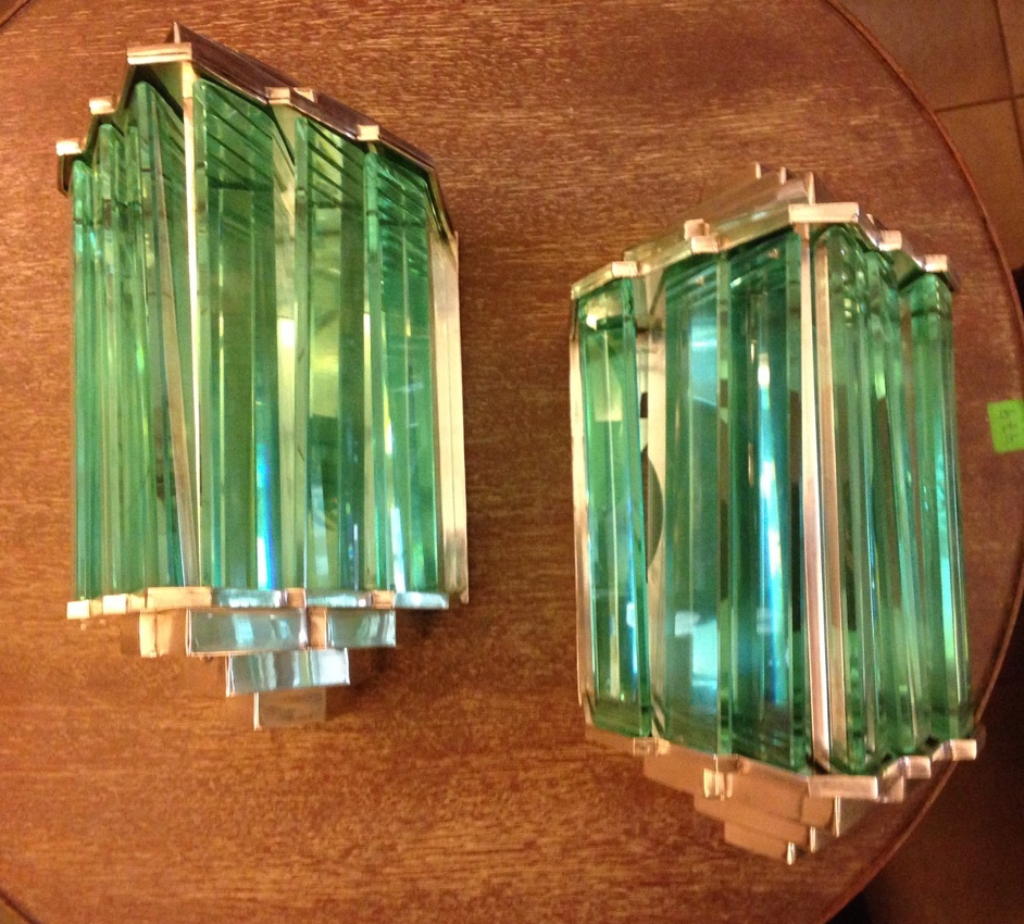 Pair of maison desny lights sconces paris 1930 modernist glass sold items - Decoration maison 1930 ...