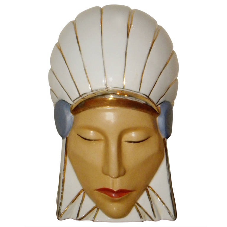 Very Rare Original Robj Bonbonniere Candy Jar Indian head