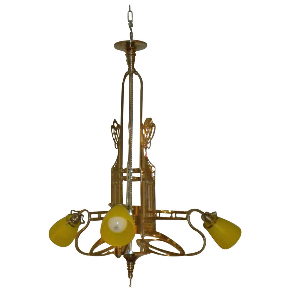 Art Nouveau Jugendstil Chandelier with Schneider Glass