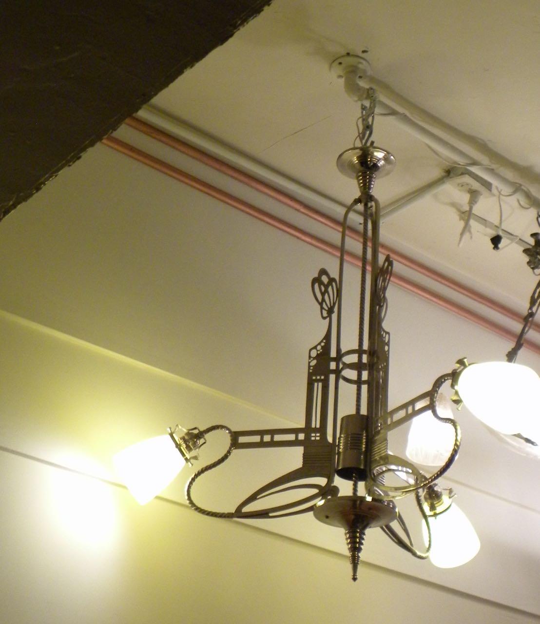 art nouveau jugendstil chandelier with schneider glass. Black Bedroom Furniture Sets. Home Design Ideas
