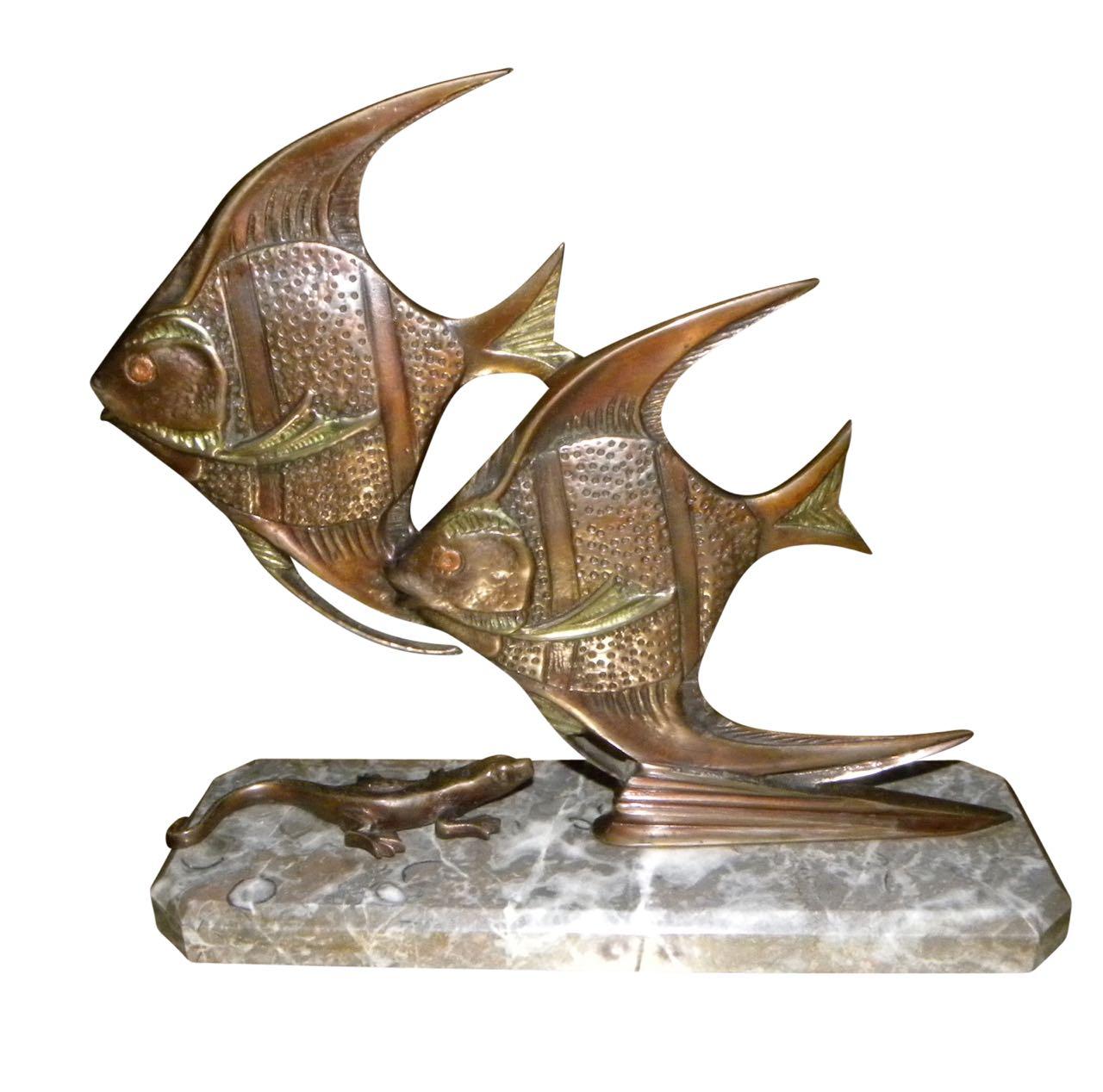 Bronze Art Deco Angel Fish Statue with Gecko